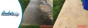 Pressure washing concrete sidewalks